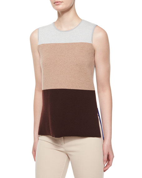 Derek Lam Sleeveless Colorblock Top, Gray/Camel/Vicuna