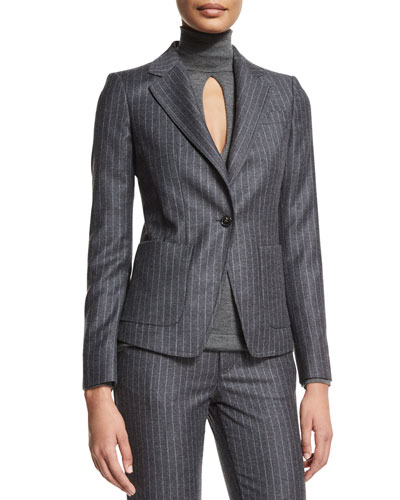 Pinstripe One-Button Jacket, Charcoal Gray