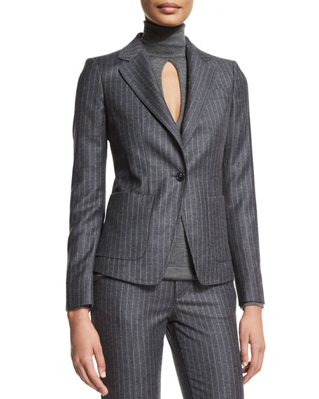 TOM FORD Pinstripe One-Button Jacket, Charcoal Gray