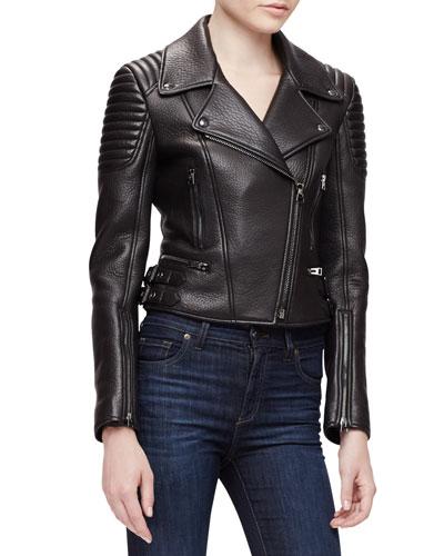 Pebbled-Leather Moto Jacket, Black