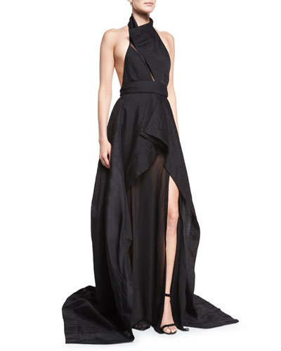 Sculpted Organza-Inset Halter Gown