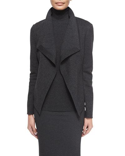 Long-Sleeve Molded Cardigan Jacket, Charcoal