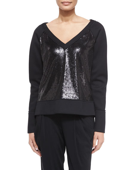 Donna Karan Long-Sleeve Sequin Sweatshirt, Black