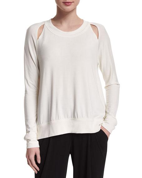 Donna Karan Long-Sleeve Double-Slash Top, Ivory