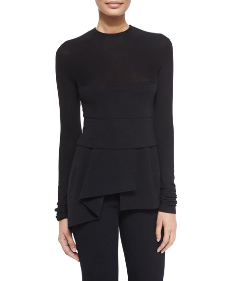 Donna KaranLong-Sleeve Combo Peplum Top, Black