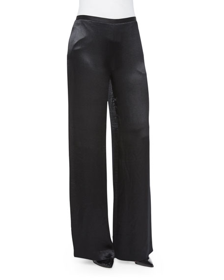 THE ROW Misa Satin Wide-Leg Pants, Black