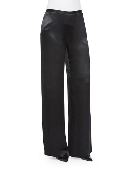 THE ROW Misa Satin Wide-Leg Pants, Black