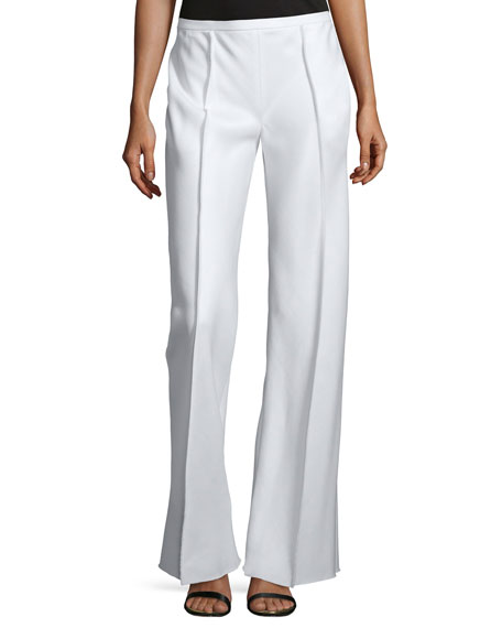 THE ROW Appel Seamed Wide-Leg Pants, Rose Cream