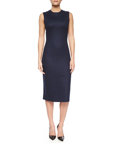 Asca Sleeveless Midi Sheath Dress, Oil Blue