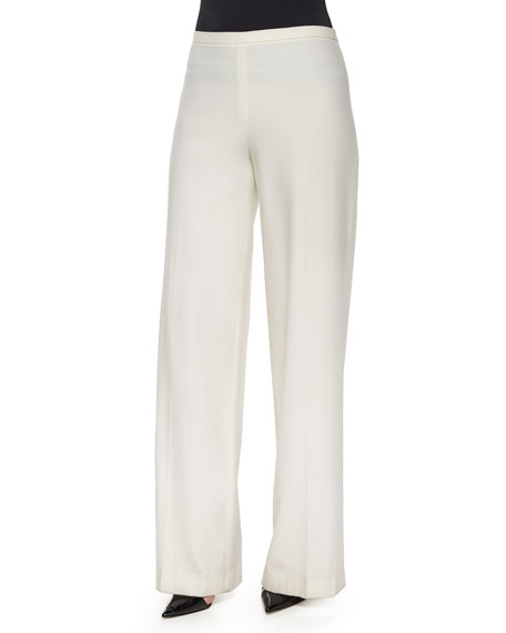 THE ROW Rista Side-Zip Wide-Leg Pants, Bright White