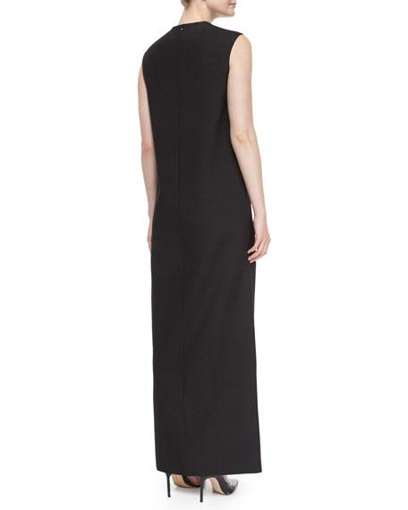 Tazi Satin Embroidered-Stripe Tuxedo Gown, Black