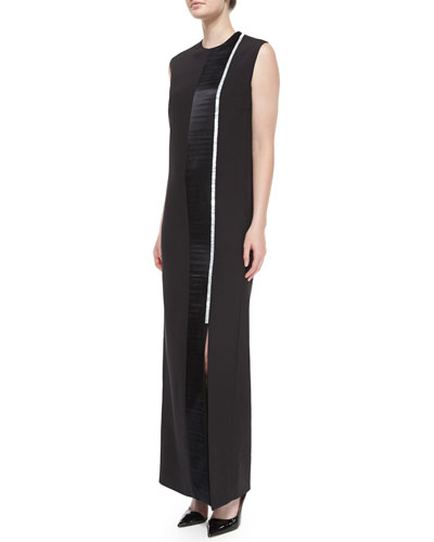 Tazi Satin Embroidered-Stripe Tuxedo Gown, Black