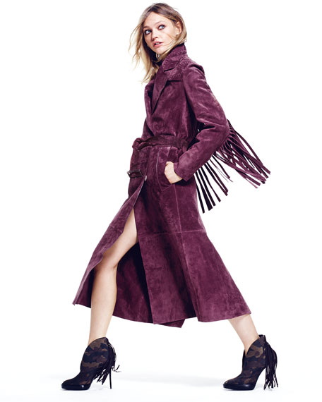 Image 2 of 3: Long-Sleeve Long Trench Coat, Elderberry