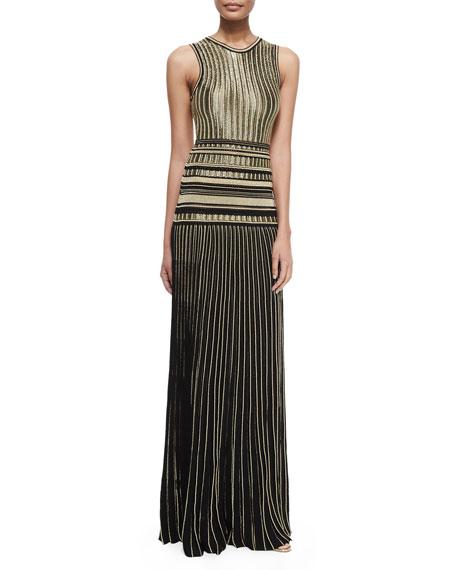 Metallic Pleat-Skirt Gown, Nero/Oro