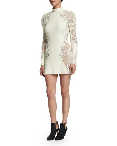 Long-Sleeve Embellished-Lace Dress, Off White