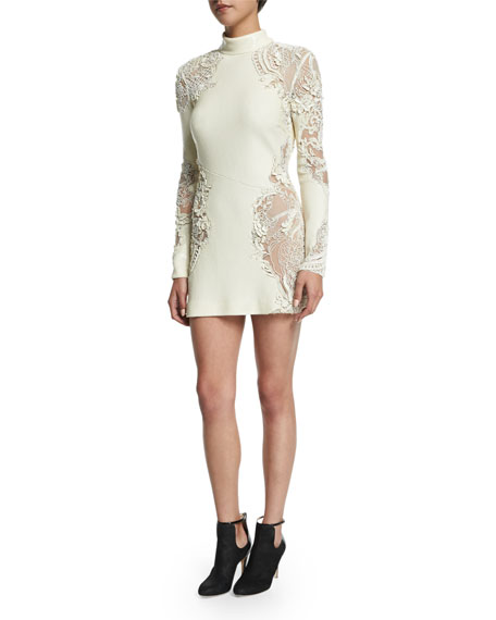 Long-Sleeve Embellished-Lace Dress, Off White