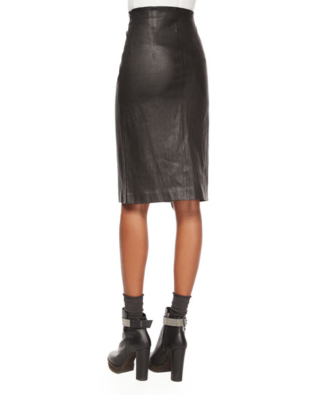 brunello cucinelli leather pencil skirt black
