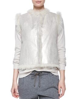 Open-Front Reversible Fur Vest, Vanilla