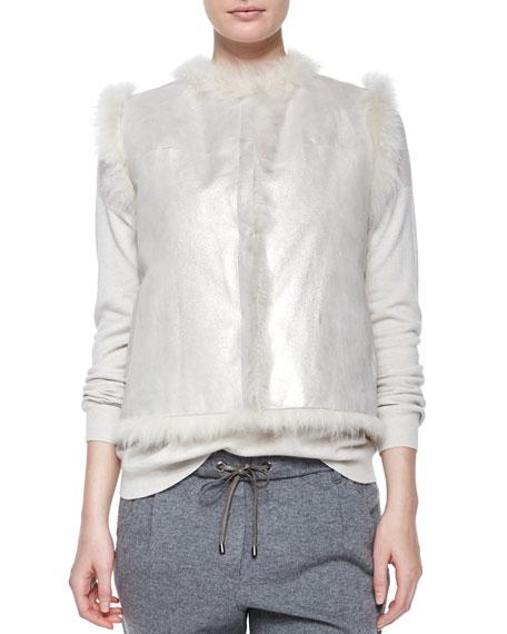 Brunello Cucinelli Open-Front Reversible Fur Vest, Vanilla