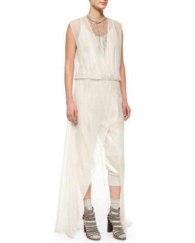Brunello Cucinelli Sleeveless Cropped Jumpsuit W/Overlay. Vanilla
