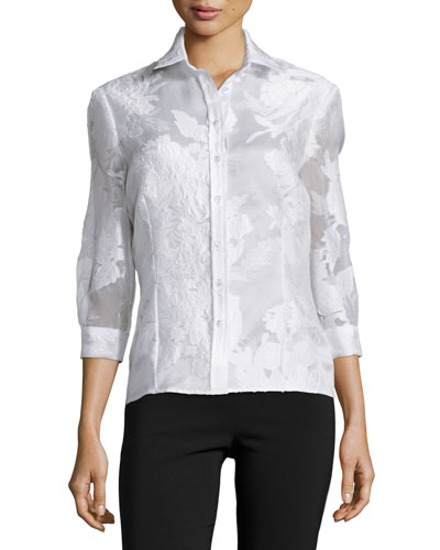Floral Jacquard Button Blouse