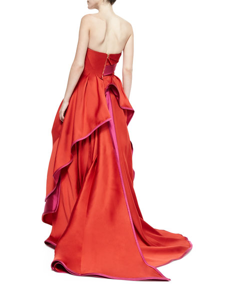 Strapless Pleated Two-Tone Gown, Red