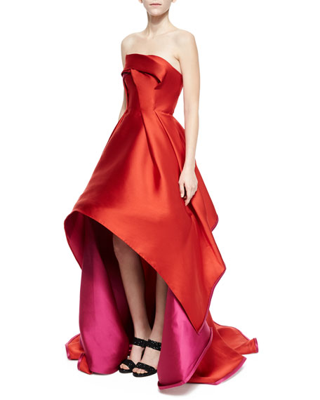 Rubin Singer Strapless Pleated Two-Tone Gown, Red