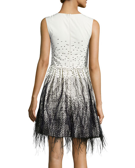 Sleeveless Feather-Embroidered Ombre Dress, Ivory/Black