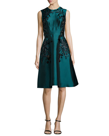 Lela Rose Sleeveless Floral-Embroidered Dress, Teal