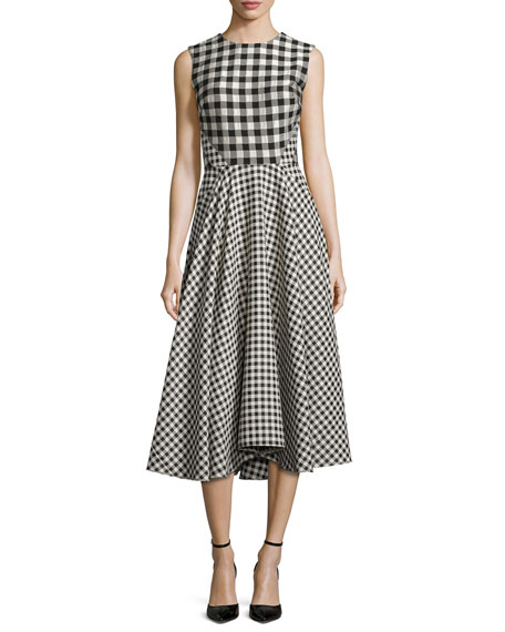 Lela Rose Sleeveless Gingham Paneled Dress