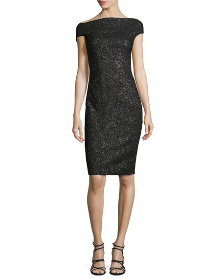 Lela Rose Sparkle Off-the-Shoulder Sheath Dress, Black Metallic