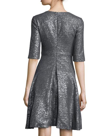 Lela Rose Tiered Metallic Elbow-Sleeve Dress, Gray