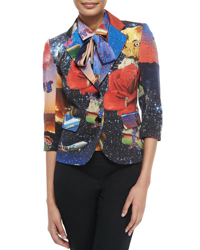 Starry Night Two-Button Blazer, Multi Colors