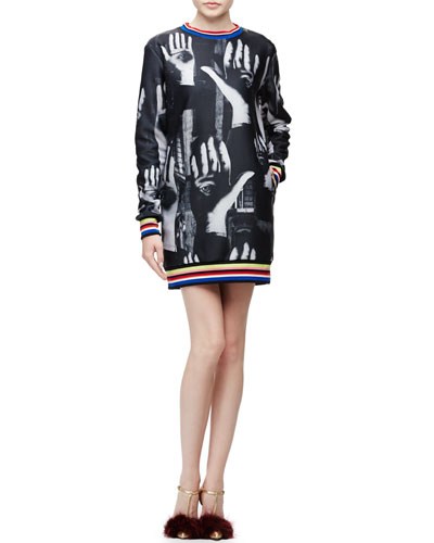 Surreal Hands-Print Sweatshirt Dress