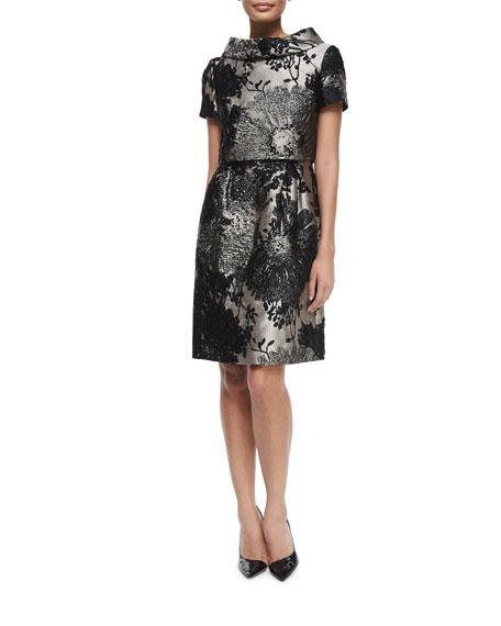 Escada Short-Sleeve Funnel-Neck Metallic Dress, Black