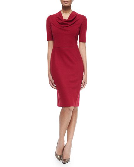 Escada Short-Sleeve Cowl-Neck Dress, Dark Cherry