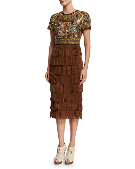 Burberry Prorsum Short-Sleeve Embellished Dress, Russet Brown