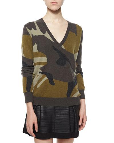 Camo-Print Cashmere V-Neck Sweater