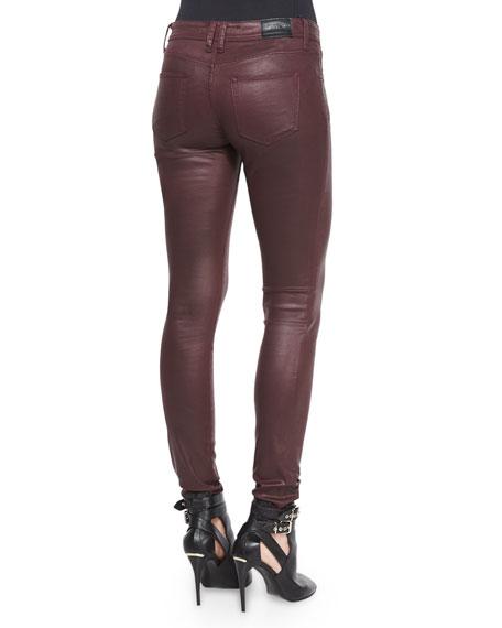 Wax Skinny Jeans, Oxblood