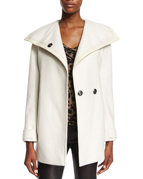 Burberry Oversized-Collar Waterfall Coat, Natural White