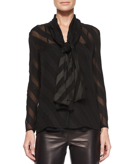 Burberry London Angled-Stripe Self-Tie Blouse, Black