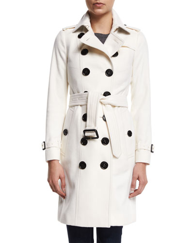 Double-Breasted Cashmere Trenchcoat, White