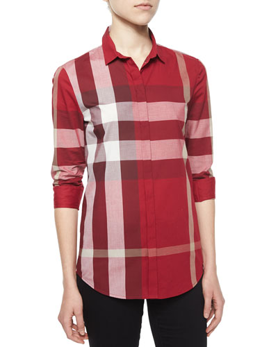 Long-Sleeve Placket-Front Check Shirt, Peony Rose
