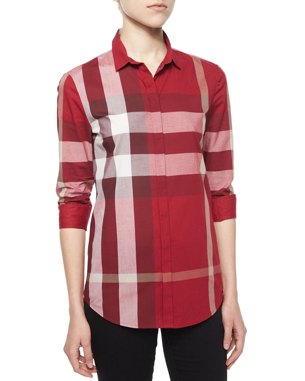 3c6b59b410b5 Burberry Brit Long-Sleeve Placket-Front Check Shirt