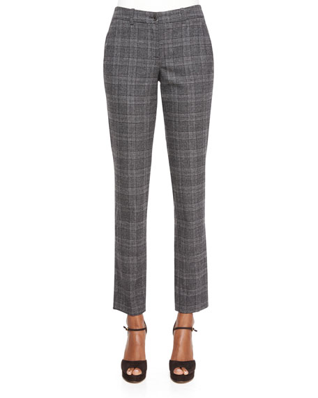 Michael Kors Collection Slim-Leg Plaid Flannel Pants, Slate