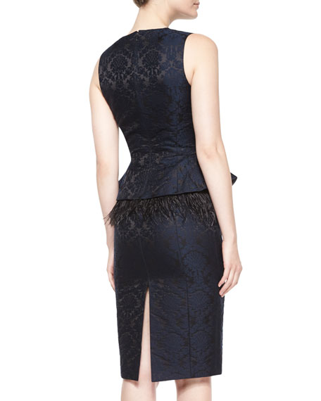 Sleeveless Feather-Peplum Sheath Dress, Navy/Black