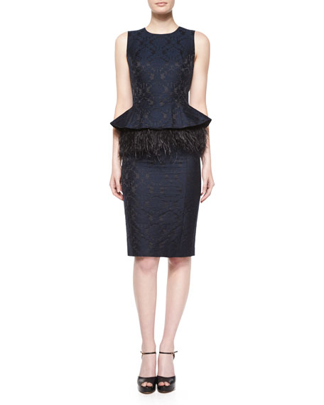 Michael Kors Collection Sleeveless Feather-Peplum Sheath Dress,