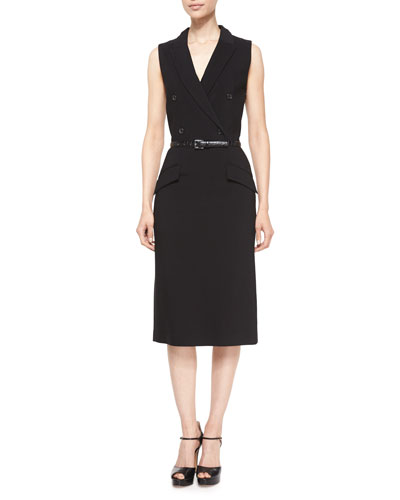 Sleeveless Belted Tuxedo Dress, Black