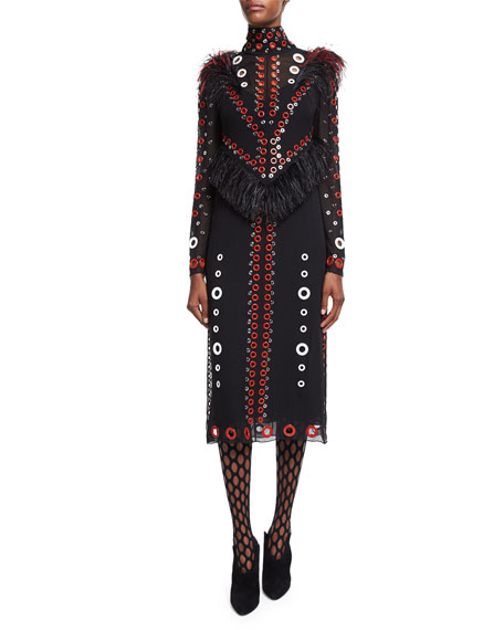 Proenza Schouler Eyelet-Embellished Feather-Trim Dress, Black