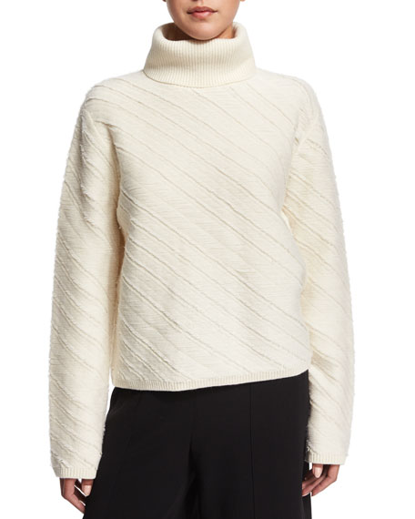 Proenza Schouler Turtle-Neck Floating-Fringe Sweater, Off White